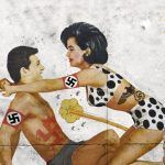 """Fragment plakatu filmu """"Surfujący naziści muszą umrzeć""""."""
