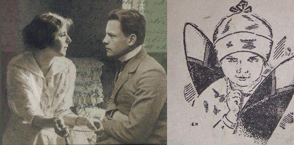 """Młody Melchior Wańkowicz na zdjęciu z okładki książki """"King i królik"""". Z prawej: wycinek reklamy przekonującej rodziców, że dzieciom nie należy żałować cukru."""