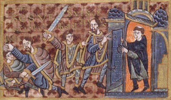Przyszła żona Mieszka od dziecka borykała się ze świadomością, że jej ojciec zabił własnego brata. Na ilustracji Bolesław morduje Wacława, aprzekupiony duchowny odcina ofi erze drogę ucieczki. Iluminacja zjednej znajcenniejszych czeskich ksiąg – kodeksu zWolfenbüttel.