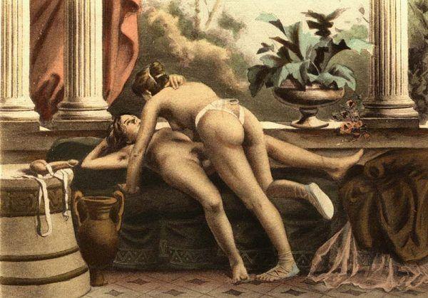 Dwórki Katarzyny Medycejskiej słynęły z oddawania się wyuzdanym igraszkom. Obraz Paula Avrila, ilustratora literatury erotycznej, przedstawia zabawy miłosne antycznych kochanek (źródło: domena publiczna).