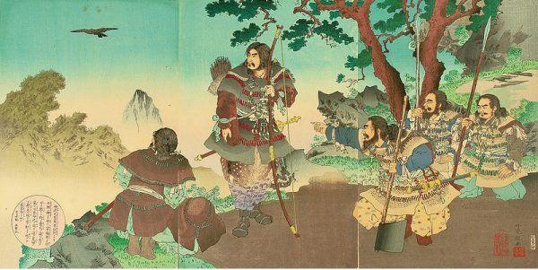 Jimmu Tenno był mitycznym władcą Japonii. Jego wstąpienie na tron uważa się za początek państwowości kraju kwitnącej wiśni (źródło: domena publiczna)