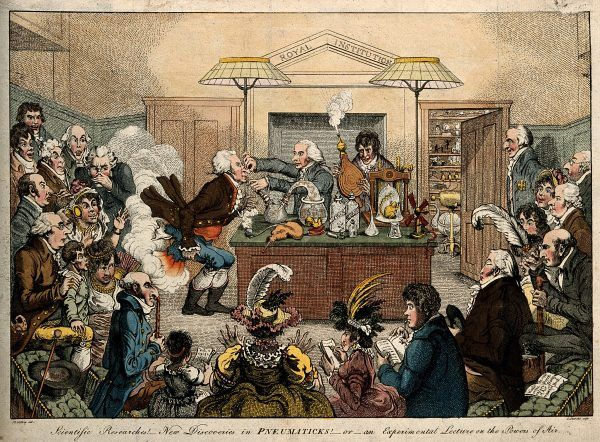 Satyryczny rysunek przedstawiający jeden z wykładów Humphry'ego Davy'ego (akwaforta autorstwa Jamesa Gillraya, ze zbiorów Wellcome Library no. 544797i, CC BY 4.0).