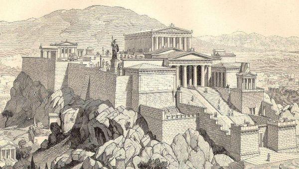 I wreszcie w starożytnych Atenach kobiety mogły odbierać porody... A to wszystko przez Agnodike? Rekonstrukcja Akropolu na ilustracji z początków XX w. (źródło: domena publiczna).