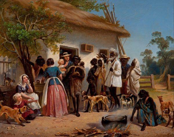 """Do rozwiązania tajemnicy zbrodni zaangażowano nawet aborygeńskiego tropiciela. Obraz Alexandra Schramma """"Europejscy osadnicy z aborygenami"""" z 1850 roku (źródło: domena publiczna)."""