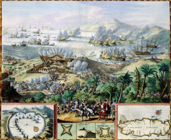 Władca małej Kurlandii Jakub Kettler miał wielkie aspiracje. Na krótko udało mu się skolonizować nawet odległe Tobago. Na ilustracji bitwa o Tobago stoczona przez Holendrów i Francuzów w 1677 roku (źródło: domena publiczna).