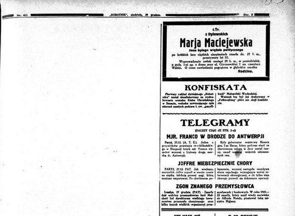 """Biała plama w miejscu skonfiskowanego artykułu w jednym z numerów socjalistycznego """"Robotnika""""."""