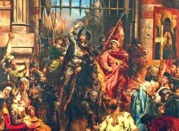 Bolesław Chrobry (na obrazie Jana Matejki) wjeżdżający triumfalnie do Kijowa (źródło: domena publiczna).