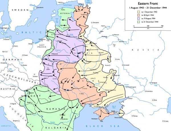 Gdy Niemcy rozpoczynali ofensywę w Ardenach, wojska radzieckie stały pod Warszawą i gotowały się do kolejnego uderzenia (rys. Pil56, CC BY-SA 3.0).