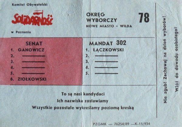 Władze nie przewidywały srogiej przegranej w wyborach w 1989 roku. Ulotka wyborcza Komitetu Obywatelskiego w Poznaniu (źródło: domena publiczna).