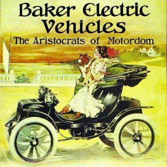 Plakat reklamujący jeden z samochodów elektrycznych firmy Baker Motor Vehicle (źródło: domena publiczna).