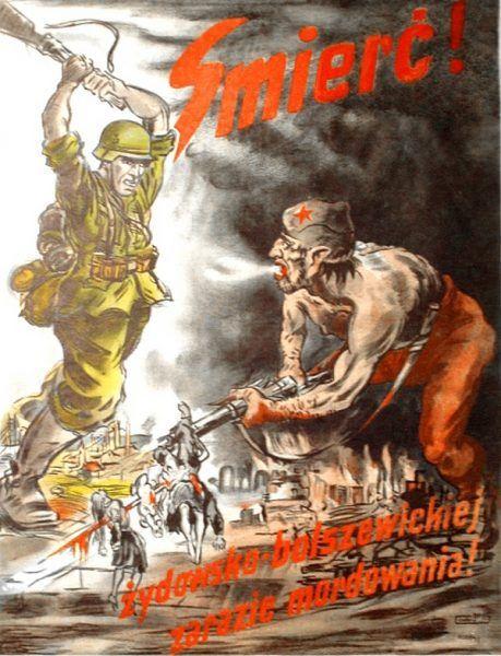 Nazistom zależało, by w polskiej świadomości utrwalił się obraz Żyda-bolszewika. Niemiecki plakat propagandowy z czasów II wojny światowej (źródło: domena publiczna).