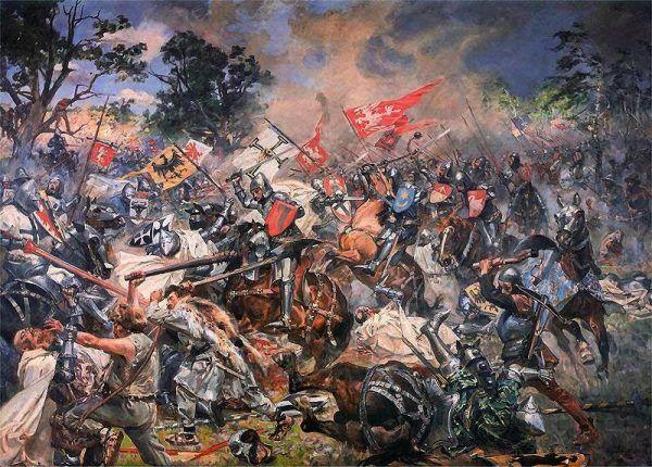 Czy zwycięstwo nad Krzyżakami rzeczywiście nie zostało wykorzystane? Bitwa pod Grunwaldem na obrazie Wojciecha Kossaka (źródło: domena publiczna).