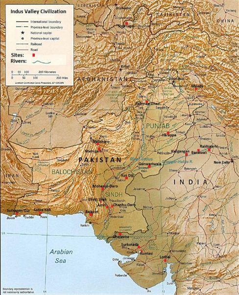 Mniej więcej w połowie trzeciego tysiąclecia przed naszą erą w dolinie Indusu rozwinęła się wspaniała cywilizacja (źródło: domena publiczna).