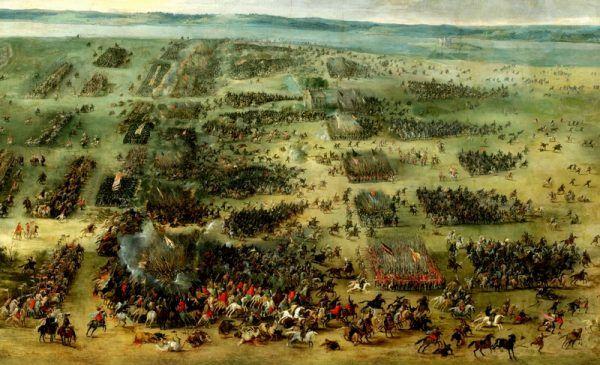 """Zwycięstwo pod Kircholmem miało bardzo konkretny efekt - ocalenie Rygi. Obraz Pietera Snayersa """"Bitwa pod Kircholmem"""" (źródło: domena publiczna)."""