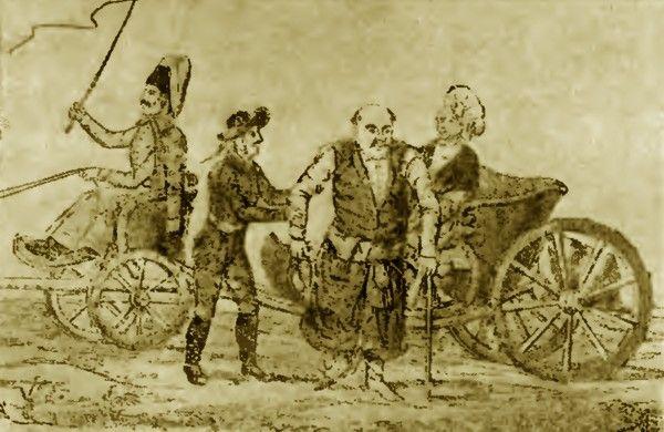 Uważajcie na podróże kolasą, bo możecie skończyć jak Samuel Komorowski. Na ilustracji szlachcic wysiadający z kolasy (źródło: domena publiczna).