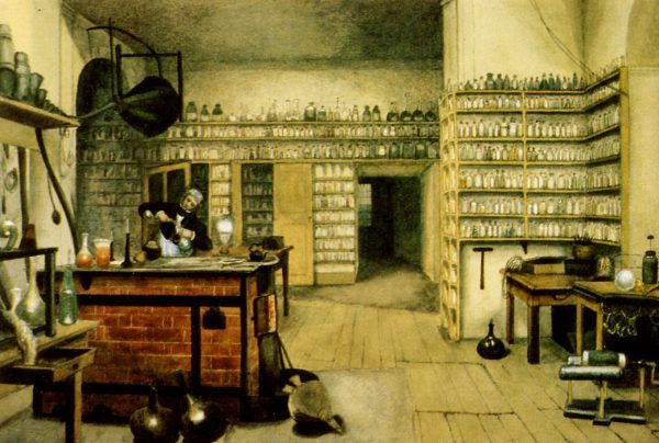Michael Faraday w swoim laboratorium. Obraz Harriet Moore.