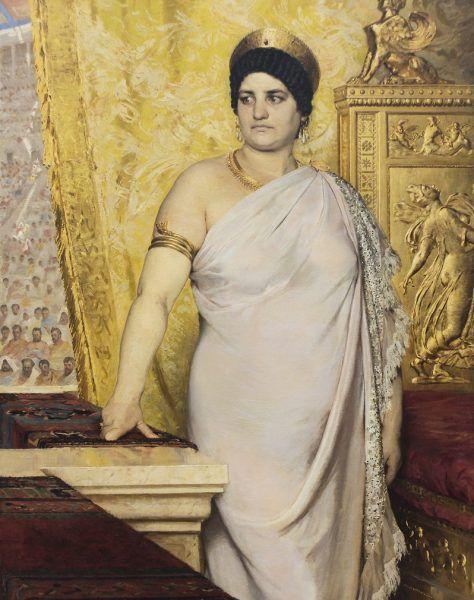 """Żona cesarza Klaudiusza Messalina myła zęby pastą ze sproszkowanego poroża jelenia. Jak inni Rzymianie, pewnie płukała usta portugalskim moczem. Czy stąd ten grymas na twarzy? Obraz """"Messalina"""" Pedera Severina Krøyera (źródło: domena publiczna)."""