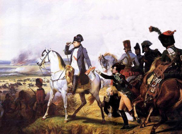 """Czy żołnierze Napoleona ruszali do walki z bagietkami wystającymi z kieszeni spodni? Jak się okazuje, nic z tych rzeczy... Ilustracja przedstawia obraz Horacego Verneta """"Napoleon pod Wagrami"""" (źródło: domena publiczna)."""