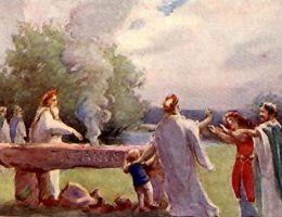 XIX-wieczny rysunek przedstawiający druida składającego w ofierze dziecko (źródło: domena publiczna).