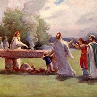 XIX-wieczny rysunek przedstawiający druidów składających w ofierze dziecko (źródło: domena publiczna).