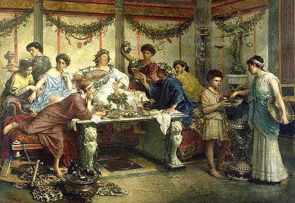 """Bogaci Rzymianie uwielbiali ucztować. Jednocześnie chcieli mieć zdrowe zęby, bez zalegających resztek. Co zrobili? To co zawsze! Wyszkolili niewolnika, który dbał o ich uzębienie. Obraz """"Il Parassita"""" Roberto Bompianiego (źródło: domena publiczna)."""