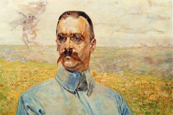 Piłsudski nawet się nie spodziewał, jak sprawnie Iłłakowiczówna przeprowadzi sprzedaż jego tekstu. Przyszły Marszałek na obrazie Jacka Malczewskiego z 1916 roku (źródło: domena publiczna).