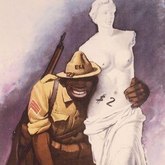 Włoski plakat propagandowy z czasów II wojny światowej przedstawiający amerykańskiego żołnierza jako dzikusa, dla którego nie ma żadnych świętości (źródło: domena publiczna).
