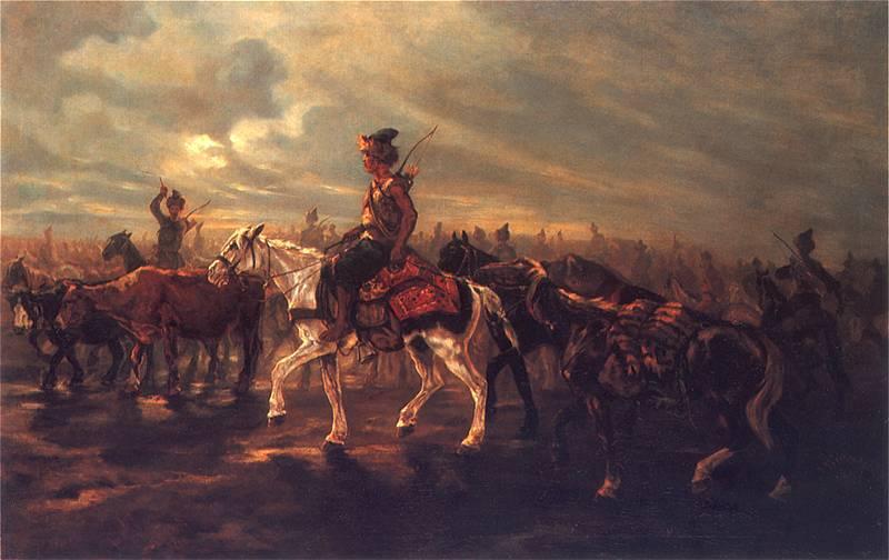Również Tatarzy mieli sprawdzone sposoby na walkę z husarią. Na ilustracji obraz Józefa Brandta przedstawiający tatarski pochód (źródło: domena publiczna).