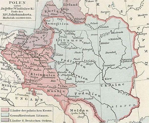 Królestwo Polskie i Wielkie Księstwo Litewskie pod rządami Władysława Jagiełły. W 1387 roku hospodar mołdawski Piotr I złożył hołd lenny Jagielle i Jadwidze (źródło: domena publiczna).