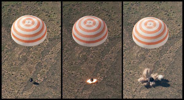 Kapsuła Sojuza z trzema astronautami na pokładzie w czasie lądowania w 2010 roku (fot. Bill Ingalls, NASA, domena publiczna)