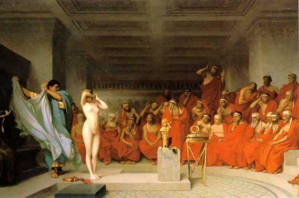 By obronić się przed zarzutem deprawowania pacjentek Agnodike zdecydowała, że zamiast plątać się w zeznaniach lepiej... zrzucić ubranie. Obraz Jeana-Léona Gérôme'a z 1861 roku (źródło: domena publiczna).