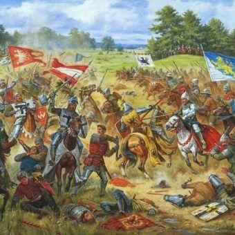 """""""Halickie chorągwie w Bitwie pod Grunwaldem 15 lipca 1410 roku"""" pędzla Artura Oriolowa (licencja: CC BY-SA 3.0)"""