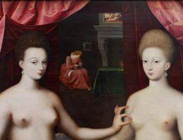 Gabrielle d'Estrées i jej siostra, obraz autorstwa nieznanego artysty z tzw. Szkoły Fontainebleau (źródło: domena publiczna)