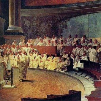 """Fragment fresku Cezara Maccariego """"Cyceron przemawiający w Senacie"""" (źródło: domena publiczna)."""