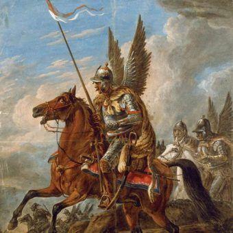Atak husarii na obrazie Aleksandra Orłowskiego (źródło: domena publiczna).