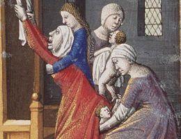Średniowieczny poród (źródło: domena publiczna).