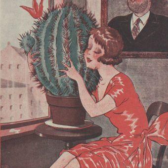 """Lekcja numer jeden: nie rób tego z kaktusem? (Ilustracja z przedwojennego czasopisma """"Wolna myśl, wolne żarty"""". Reprodukcja udostępniona przez Bibliotekę Cyfrową Uniwersytetu Łódzkiego)."""