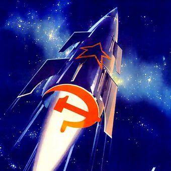 """Napis na tym plakacie propagandowym głosił: """"Urodziliśmy się, by bajki uczynić rzeczywistością!"""" (rys. W. Wiktorow, domena publiczna)."""