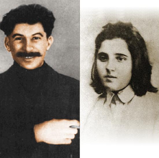 Gdy miłość zapłonęła, Stalin miał 40, a Nadia - 16 lat. Na zdjęciach: Stalin w wieku 37, Nadia - 17 lat. Kobieta czy dziecko? (źródło: domena publiczna)