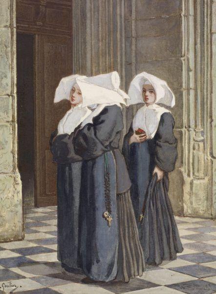 Jeśli wierzyć kronikarzom, lesbijskie ekscesy nie ominęły też XVI-wiecznych klasztorów. Na obrazie zakonnice w portalu kościoła pędzla Armanda Gautiera (źródło: domena publiczna).