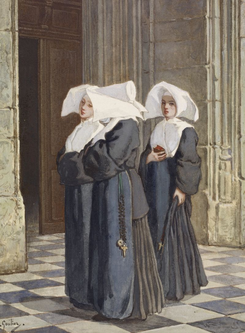 Lesbijskie ekscesy nie ominęły też klasztorów. Na obrazie zakonnice w portalu kościoła pędzla Armanda Gautiera (źródło: domena publiczna).