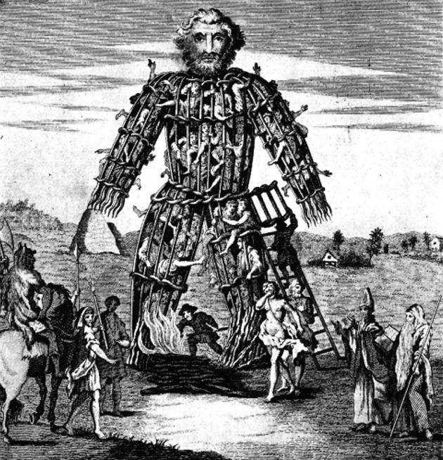 Popularnym sposobem składania ofiary była budowa drewnianej kukły, wypełnionej ludźmi i zwierzętami. Kukłę, naturalnie, palono (źródło: domena publiczna).
