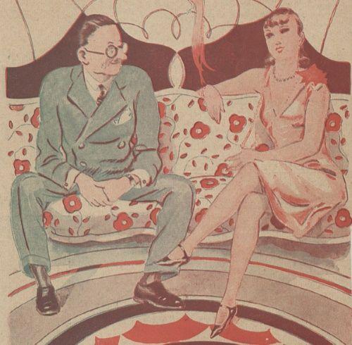 """Podręcznik Herzena zalecał, by do 22 roku życia ograniczać się tylko do patrzenia na siebie... (Ilustracja z przedwojennego czasopisma """"Wolna myśl, wolne żarty"""". Reprodukcja udostępniona przez Bibliotekę Cyfrową Uniwersytetu Łódzkiego)."""