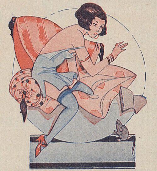 """Lekcje wychowania seksualnego były w teorii przeznaczone dla wszystkich uczniów. Podręcznik Herzena zupełnie jednak ignorował kobiety. Zdaniem autora seks ich właściwie nie dotyczył... (Ilustracja z przedwojennego czasopisma """"Wolna myśl, wolne żarty"""". Reprodukcja udostępniona przez Bibliotekę Cyfrową Uniwersytetu Łódzkiego)."""