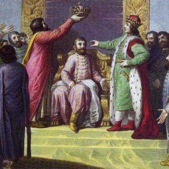 Bolesław Śmiały wprowadza na tron węgierski Belę (grafika z XIX wieku, domena publiczna).