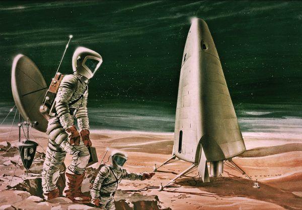 Artystyczna wizja lądownika marsjańskiego powstała ok. 1964 roku (rys. Aeronutronic Division of Philco Corp na zlecenie NASA, domena publiczna).