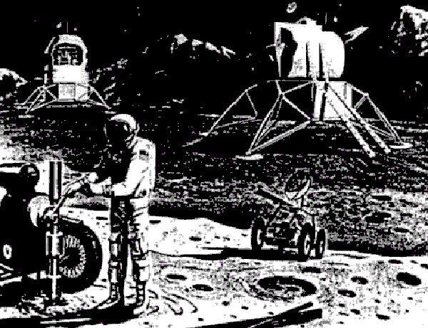 Elementy bazy księżycowej, która miała powstać w ramach Apollo Applications Program (rys. NASA, domena publiczna).