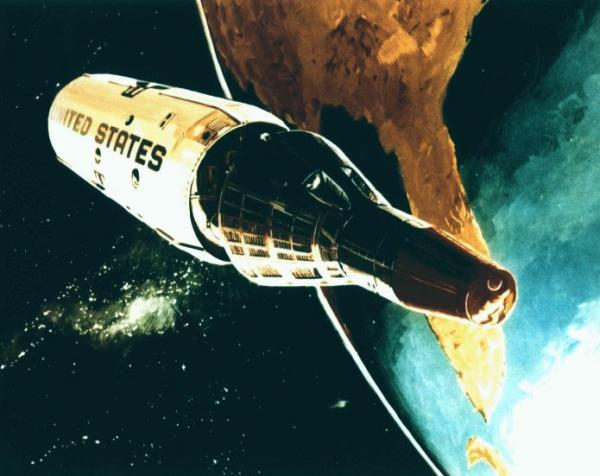 Artystyczna wizja MOL-a z kapsułą Gemini B (rys. U.S. Air Force, domena publiczna).