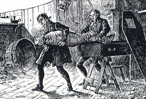 Rosnące zapotrzebowanie na zwłoki do autopsji zrodziło prężnie rozwijający się biznes. Funkcjonowały całe gangi trudniące się kradzieżą, przemytem i sprzedażą ciał (źródło: domena publiczna).