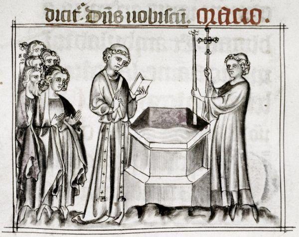"""Święcenie wody chrzcielnej. """"Mszał franciszkański"""", XIV wiek."""
